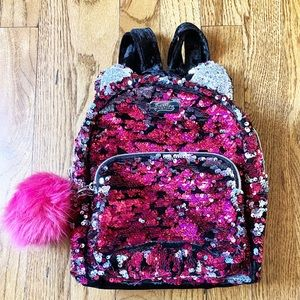 Justice Sequin Mini Backpack Purse Pink Black